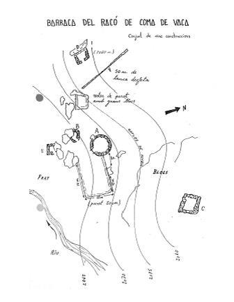 Esquema de la Jaça del Racó fet per Gil Roquet